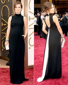 """Olivia Wilde 2013 Oscars - wearing an elegant """"Valentino"""" gown with a white draped accent on the back. Jewels by Lorraine Schwartz."""