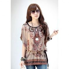 www.sammydress.com cheap clothes!  $6.38 Chiffon Floral Print Scoop Neck Bat-Wing Sleeeves Retro Style Blouse For Women