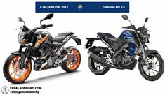 Compare ktm-duke-200-2017 Vs yamaha-mt-15 Vs Body type, features, price and specifications comparison, all appear in a single window making it easier.
