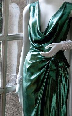 emerald green couture dress