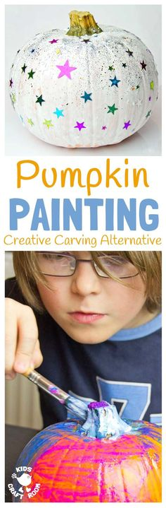 Pumpkin Painting is a fun Halloween craft for the whole family. Painted Pumpkins are an easy and safe pumpkin carving alternative for kids that look stunning! A lovely Fall craft for kids. Fun Fall Activities, Halloween Activities, Painting Activities, Halloween Crafts For Kids, Halloween Fun, Halloween Pumpkins, Halloween Decorations, Kids Crafts, Kids Diy