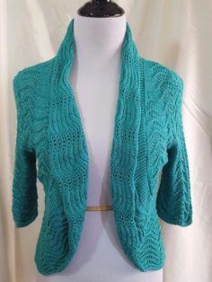 94d04bb0ed0 INC International Concepts Shrug Sweater Small Open Knit Teal Metallic  Thread  INCInternationalConcepts  Shrug