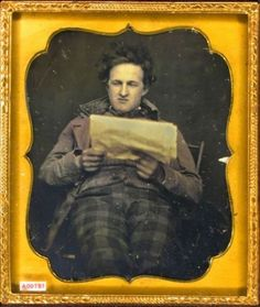 ca. 1845-48, [daguerreotype portrait of a relaxed gentleman reading the newspaper], Charles & Henry R. Meade    via the Daguerreian Society, Matthew R. Isenburg Collection