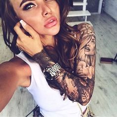 Cute and Cool Girls with Sleeve Tattoos                                                                                                                                                                                 More