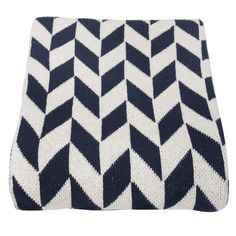 Cotton-blend throw in marine blue and white with a chevron motif. Product: ThrowConstruction Material: Cotton blend