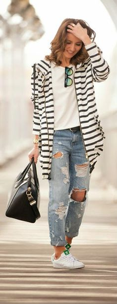 STRIPES - Brady Low Rise Boyfriend in Vintage Wash with Rips, Stripes Trench Jacket, and Sneakers / Lovely Pepa