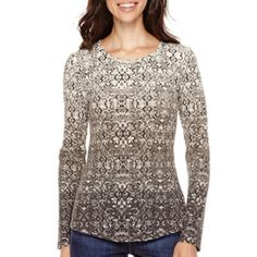 So many pretty colors to choose from in this not too heavy thermal. Liz Claiborne® Long-Sleeve Thermal T-Shirt   found at @JCPenney