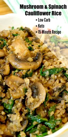 & Spinach Cauliflower Rice Mushroom & Spinach Cauliflower Rice - Low Carb Vegetarian side dish perfect for all your holiday means! Mushroom & Spinach Cauliflower Rice - Low Carb Vegetarian side dish perfect for all your holiday means! Rice Side Dishes, Vegetarian Side Dishes, Keto Side Dishes, Vegetable Side Dishes, Vegetable Recipes, Spinach Recipes, Health Side Dishes, Veggie Recipes Sides, Vegan Rice Dishes