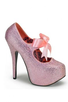 The features include a rhinestone detailed upper with a mid strap and satin bow tie accent, stitched closed toe, scoop vamp, smooth lining, and cushioned footbed. Approximately 5 3/4 inch heels and 1 3/4 inch covered platforms. PLEASE NOTE: THERE IS A 15% RESTOCKING FEE FOR RETURNS.  PLEASE NOTE: Due to the popularity of this item it may take an additional 4 day for processing of this item. 2 Day shipping will not expedite this only the shipping time. For more information please see...
