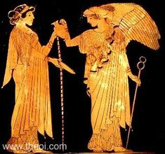 Late archaic pottery with images of Hera being attended by another winged Greek goddess, Iris. Attic red figure with a lekythos shape, c. 480 BC. by a Brygos painter.