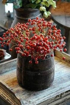 Branches with red berries in jug for Christmas decor