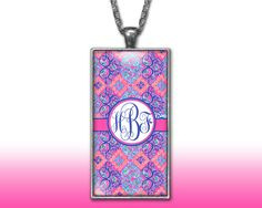 Damask Monogram Pendant Charm Necklace Personalized Coral Purple Custom Silver Plated Jewelry