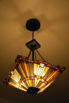 Tiffany style frank lloyd wright mission ceiling lamp by warehouse of tiffany frank lloyd - Frank lloyd wright ceiling fan ...