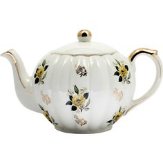 English Teapot with Yellow Flowers and Gold Accents Vintage British Pottery 1940s