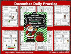 Christmas math and language arts for second grade--great for reviewing 2nd grade skills--morning work or homework