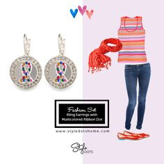 Bling Earrings with the Multicolored Ribbon Dot from Style Dots! Style with me at https://suzanne.styledotshome.com