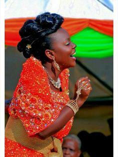 Ugandan bride in her gomesi