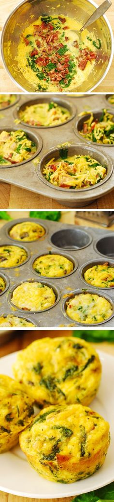 Replace Bacon with Chicken for more protein Breakfast Egg Muffins and Spinach Recipe: These muffins make a great breakfast, lunch, or a snack to pack up for work, school, or a picnic! Spinach Recipes, Egg Recipes, Brunch Recipes, Low Carb Recipes, Cooking Recipes, Spinach Egg, Breakfast Desayunos, Breakfast Dishes, Breakfast Casserole