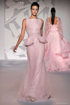 Abed Mahfouz Fall 2012 Couture   Sleeveless pink peplum sheath gown with with sheer overlay.