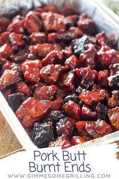 Try these Smoked Burnt Ends made from Pork Butt! A delicious, seasoned Pork Butt piece that's smoked and covered in BBQ Sauce! Traeger Recipes, Smoked Meat Recipes, Barbecue Recipes, Grilling Recipes, Pork Pieces Recipes, Pork Recipes, Easy Recipes, Sausage Recipes, Recipies