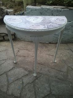 Half Moon Table Modern Vintage Painted In Antique White And Decoupaged Lilac