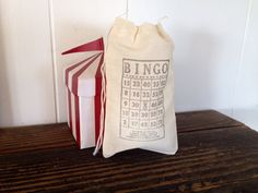 Bingo Muslin Favor Bag Party Rustic Country Wedding Birthday Gift Bag Stamped Set of 10 on Etsy, $15.00
