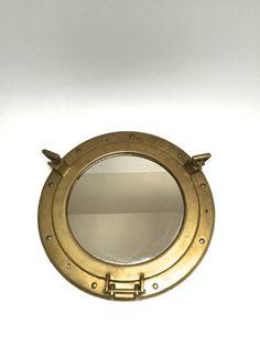 Vintage Brass Porthole Mirror - Nautical Mirror - Upcycled Porthole