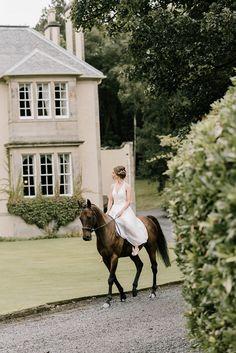 Bride arriving on horseback Hillhouse wedding Scotland. Modern Blue Suit, Bronze Smokey Eye, Dream Wedding, Wedding Day, Wedding Breakfast, Backless Wedding, Best Photographers, Scotland, Transportation