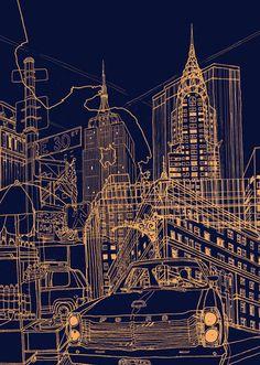 New York - Night Time by David Bushell. Massive range of art prints. Quality UK framing & Money Back Guarantee! Nyc At Night, New York Night, Night Time, Urban Landscape, Landscape Art, Illustrations, Illustration Art, Blueprint Art, Building Drawing