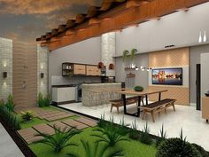 Contemporary Home Exterior - Stucco Exterior Backyard - Exterior Design Bungalow - Exterior Wall Brick - Exterior Cladding Architecture - Backyard Garden Design, Patio Design, Backyard Patio, Backyard Landscaping, House Design, Exterior Tradicional, Design Exterior, Stucco Exterior, Exterior Cladding