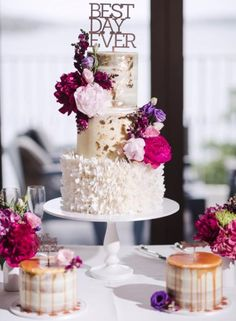 Wedding cake idea; Featured Photographer: James Day Weddings, Featured Cake: Cakes 2 Cupcakes
