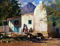 Roelof Rossouw Watercolor Landscape, Landscape Art, Landscape Paintings, Paintings I Love, Beautiful Paintings, Small Paintings, Farm Pictures, Pictures To Paint, Fishermans Cottage