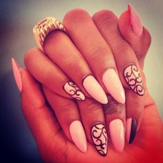 Stiletto nails - typically not my thing, but this design is just so feminine!