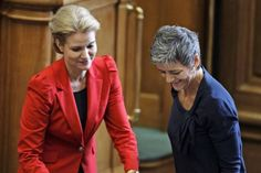 Prime minister Helle Thorning-Schmidt and Minister of Economy and Domestic Affairs Margrethe Vestager at the opening session of the Danish Parliament