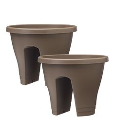 Add charisma to any balcony or fence with these innovative planters featuring a built-in reservoir that fits snugly over railings. Herbs and colorful flowers blossom in even the most urban abode with these little garden helpers that bring some pep to the patio!Includes two planters and four stabilizers10'' H x 12'' diameter