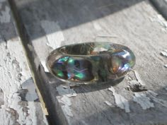 Size 7.33 Abalone Puau Shell Faceted Band Resin by MonkeyNavigated