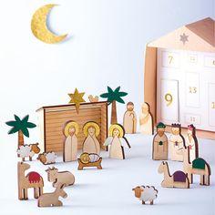 O Holy Night Wooden Nativity Set Advent Calendar at Bas Bleu   HT7802