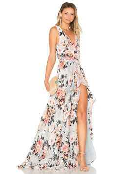 We Are Kindred Natalia Split Front Maxi Dress in Embossed Ice | REVOLVE