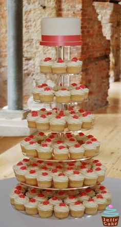 Coral Cupcake Tower Wedding Cake, Heather is this what you were thinking for your wedding?