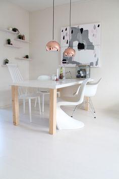 New blogpost online: Panton chair, Vitra Eames, Hay chair, Ikea Urban, copper lights