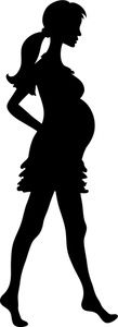 Mother Clipart Image: Barefoot and Pregnant Woman