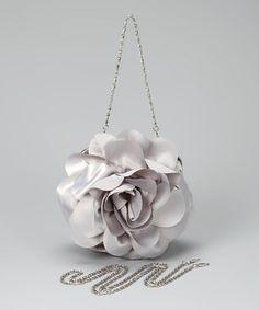 Silver Flower Puff Clutch by Eli & Co.