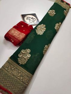Buy bottle green color Banaras khadi georgette sarees with blouse Wedding Saree Blouse Designs, Saree Blouse Neck Designs, Saree Blouse Patterns, Saree Wedding, Silk Saree Kanchipuram, Pure Georgette Sarees, Silk Sarees, Drape Sarees, Cotton Saree