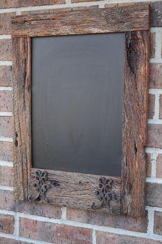 Reclaimed Barn Wood Chalkboard with Double Hooks