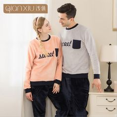 Winter Thicken Flannel Pajamas Long-sleeved  Warm Woman Tracksuit New Fashion Sleepwear Sets 16115
