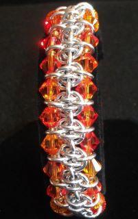 Barrel Weave variation with Swarovski Crystals