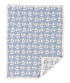 Love this 30'' x 40'' Blue Elephant Muslin Jacquard Blanket by Living Textiles Baby on #zulily! #zulilyfinds