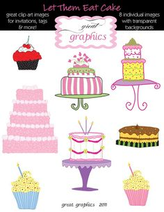 Cake Clipart Birthday Cake Clip Art Digital Cake by GreatGraphics, $5.00