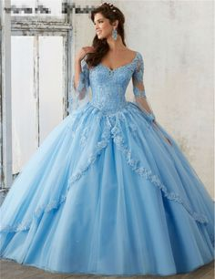 2017 Blue Quinceanera Dresses Ball Gowns V-Neck Long-Sleeved Decals Coral Quinceanera Gowns Sweet 16 Dresses Vestidos De 15 Anos