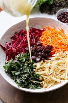 Fresh and colorful this easy vegan Apple Beet Carrot and Kale Salad is full of nutrition and flavor! Less than 10 ingredients and ready in under 15 minutes. Raw Vegan Recipes, Vegetarian Recipes, Healthy Recipes, Healthy Salads, Healthy Eating, Whole Food Recipes, Cooking Recipes, Freezer Recipes, Dining